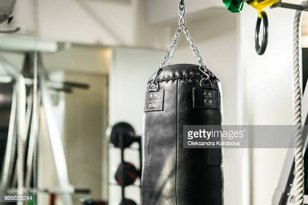 Empty modern gym with punching bags and other training equipment.