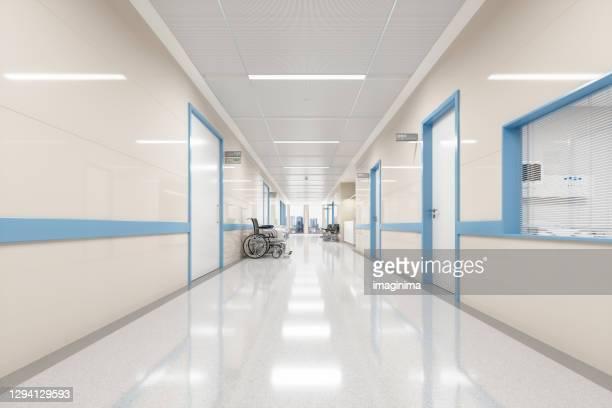 corridoio ospedaliero moderno vuoto - ospedale foto e immagini stock