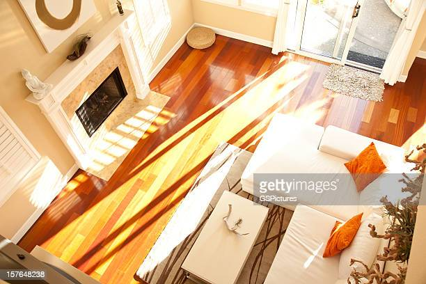 empty modern living room from above - feng shui stock photos and pictures
