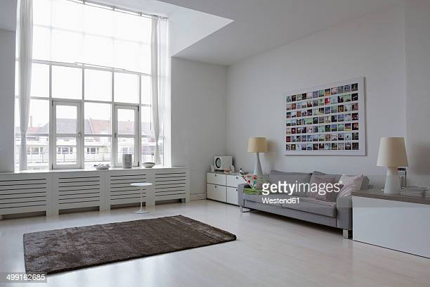 empty modern living room - carpet decor stock photos and pictures