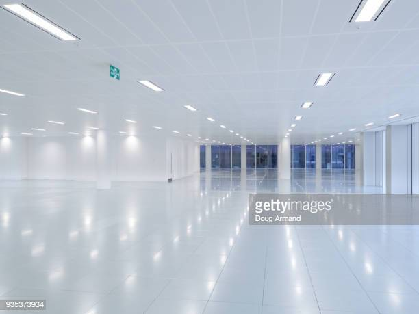 empty modern office floor space - recessed lighting stock pictures, royalty-free photos & images
