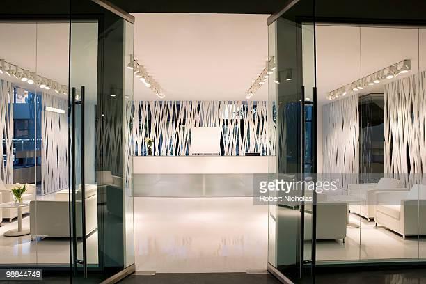 Empty, modern office lobby