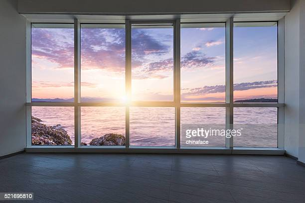 empty modern office - looking through window stock pictures, royalty-free photos & images