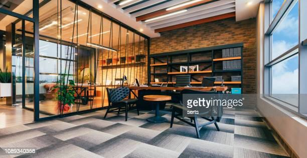 empty modern office with ceo working desk room - modern stock pictures, royalty-free photos & images