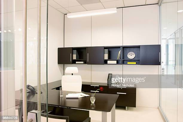 Empty modern office with glass walls