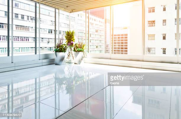 empty modern office with glass window - office background stock pictures, royalty-free photos & images