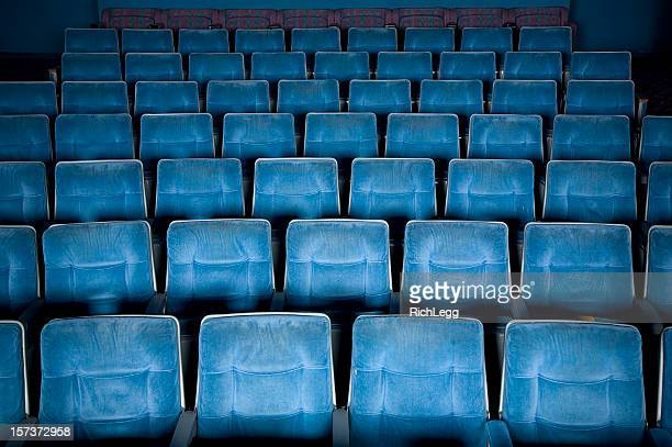 empty movie theater - blue film video stock photos and pictures