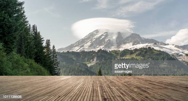 empty observation patio front of mount rainier - observation point stock pictures, royalty-free photos & images
