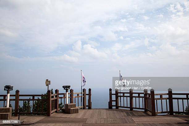 Empty Observation Point Against Sky At Ulleungdo
