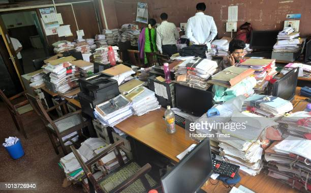 Empty office of Mantralaya, the state secretariat, as the employees protest for 7th pay commission outside Mantralaya, on August 7, 2018 in Mumbai,...