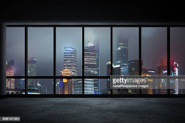 Empty Office Overlooking a City, Shanghai, China