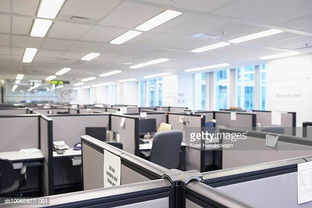 Empty office space with cubicles