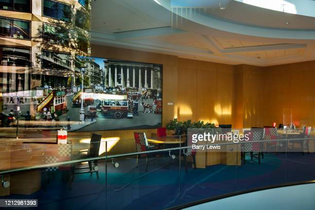 Empty office working area in the Metro Bank on London Wall during the coronavirus pandemic on the 2nd May 2020 in London, United Kingdom. All...