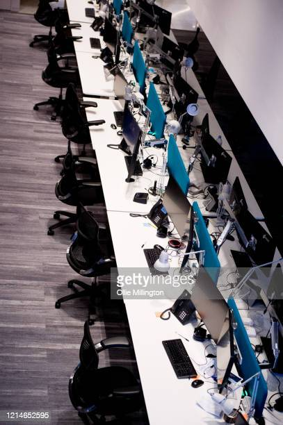 Empty offices in the City of London district on March 24, 2020 in London. British Prime Minister, Boris Johnson, announced strict lockdown measures...