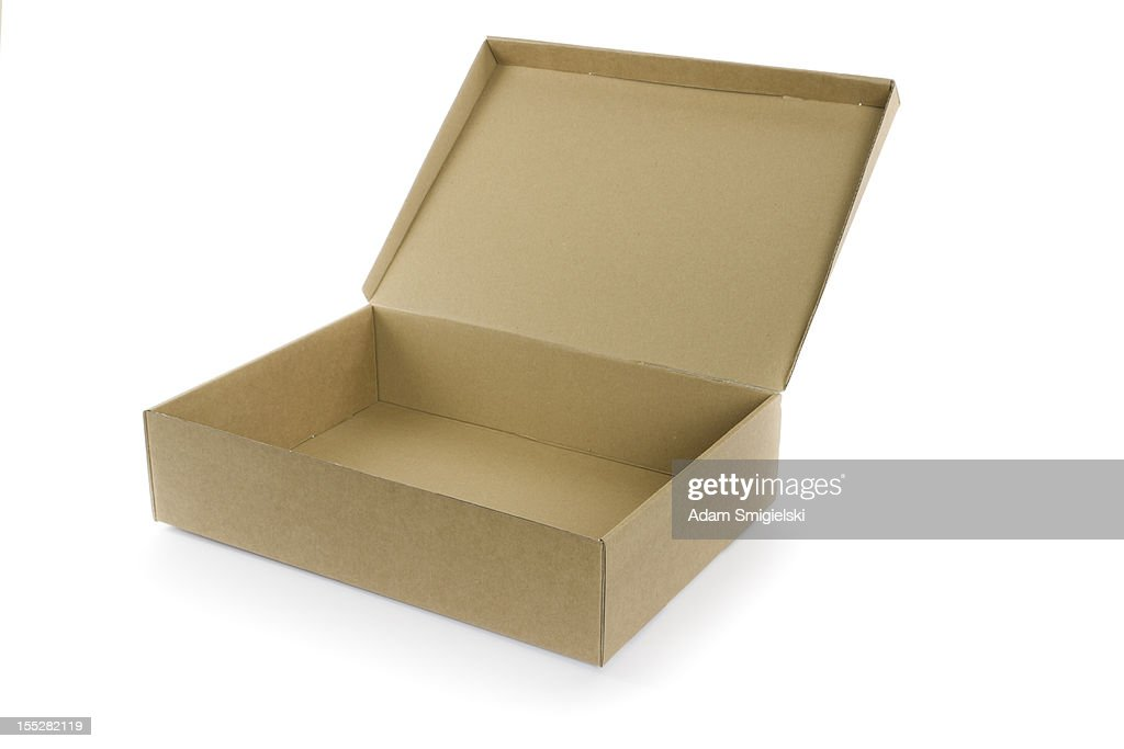 empty open cardboard box isolated on white : Stock Photo