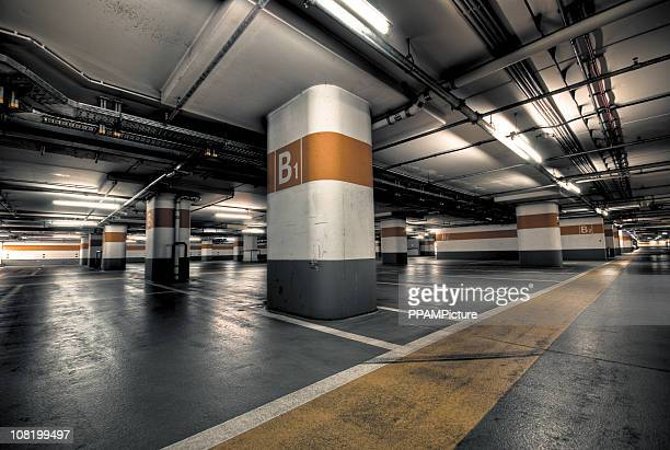 empty orange parking garage - high dynamic range imaging stock pictures, royalty-free photos & images