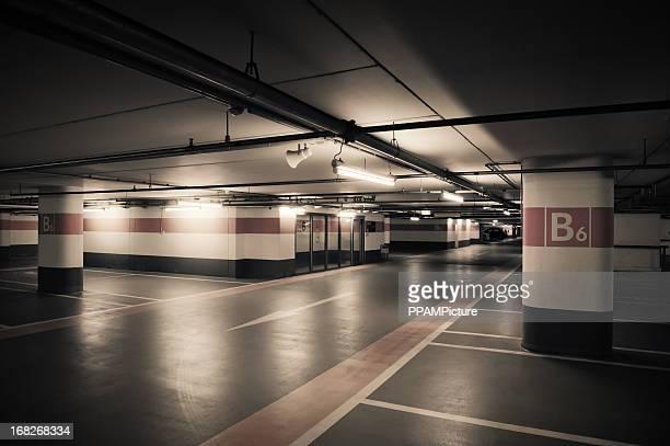 Empty Orange Parking Garage