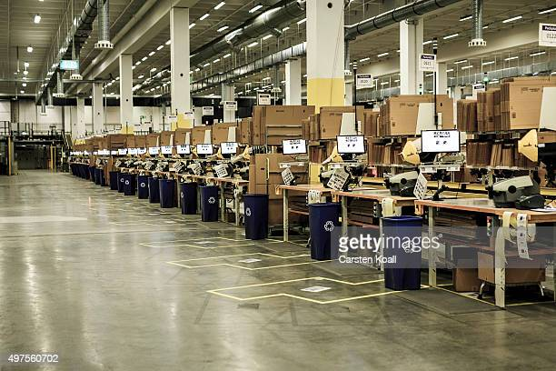 Empty pack stations at an Amazon warehouse on November 17 2015 in Brieselang Germany Germany is online retailer Amazon's second largest market after...