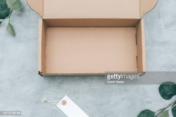 empty packing box mockup.top view - carton stock photos and pictures