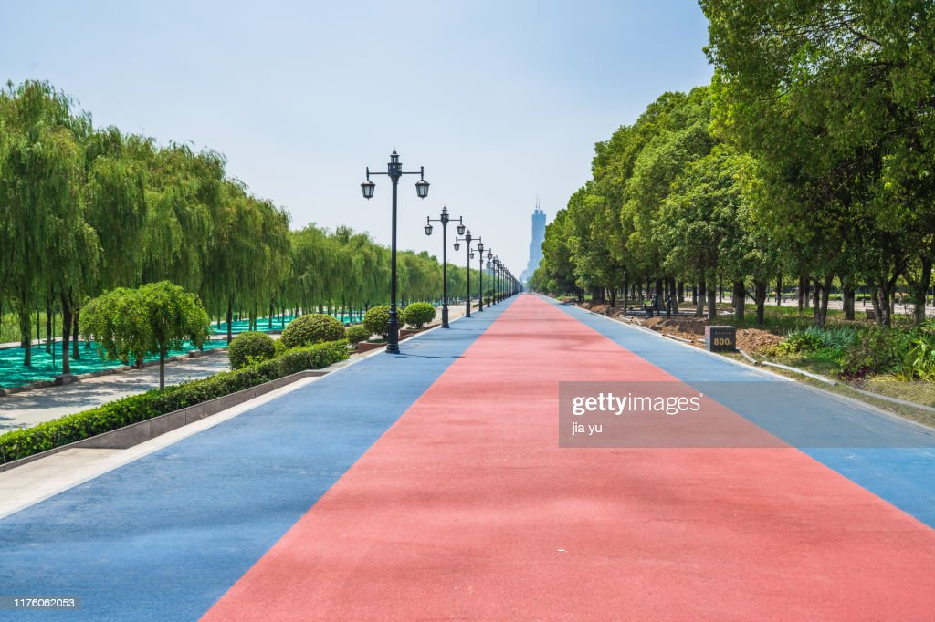 Empty painted street in Wuhan : Stock Photo