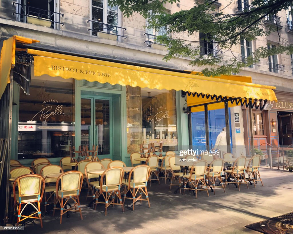 Empty Paris restaurant in early morning, France : Stock Photo