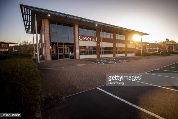 Empty parking bays at the offices of Greensill Capital Ltd. In the Daresbury Park business estate near Warrington, U.K., on Thursday, April 15, 2021....