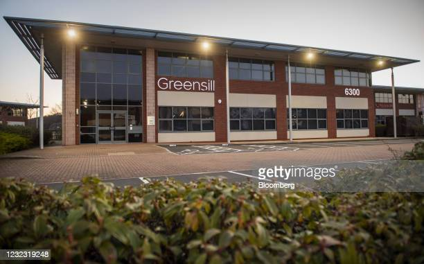 Empty parking bays outside the offices of Greensill Capital Ltd. In the Daresbury Park business estate near Warrington, U.K., on Thursday, April 15,...