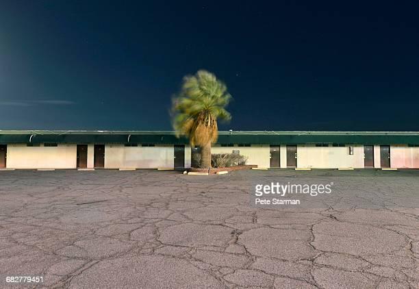 empty parking lot & abandoned motel in baker, ca. - カリフォルニア州ベーカー ストックフォトと画像
