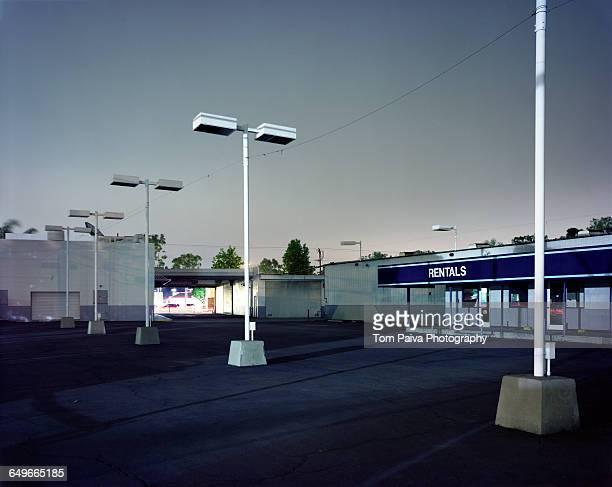 Empty parking lot at car rental