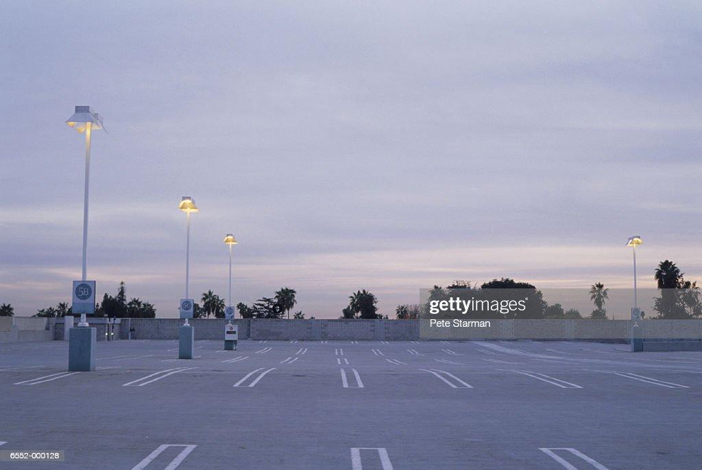 Empty Parking Lot at Dusk : Stock Photo