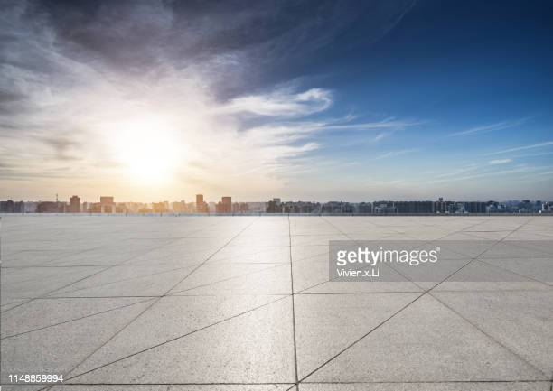 empty parking lot in city - observation point stock pictures, royalty-free photos & images