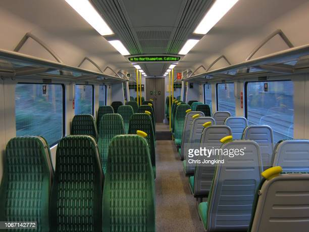 empty passenger train interior - railroad car stock pictures, royalty-free photos & images