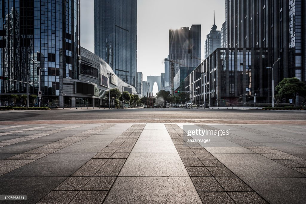 empty pavement with modern architecture : Stock Photo
