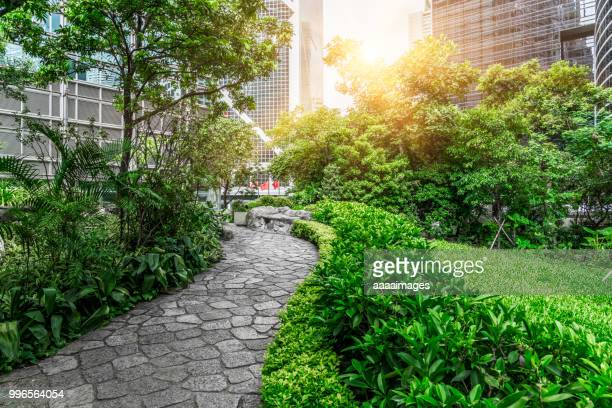 empty paving stone walkway in business district of Hong Kong