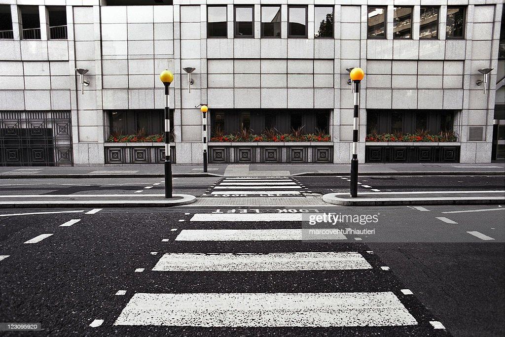 Empty pedestrian crossing in London City : Stock Photo