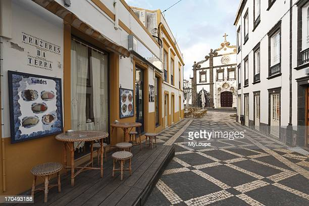 Empty pedestrian street in the downtown of Portuguese city Ponta Delgada Sao Miguel Island Azores Portugal