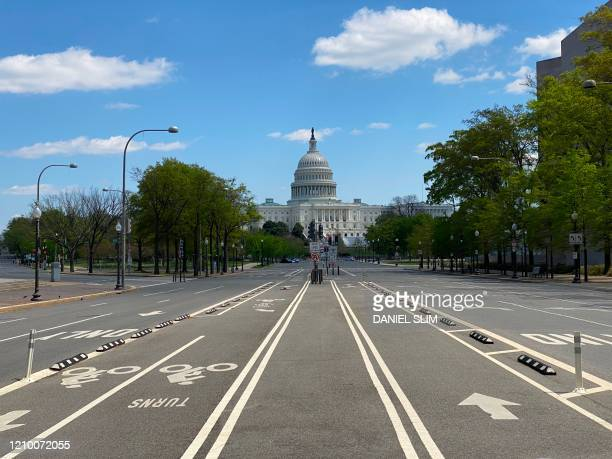 Empty Pennsylvania Avenue with the US Capitol is seen amid the coronavirus pandemic on April 15 2020 as stay at home order has been extended in...