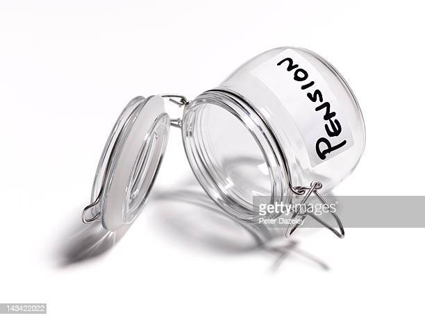 Empty pension pot on white background