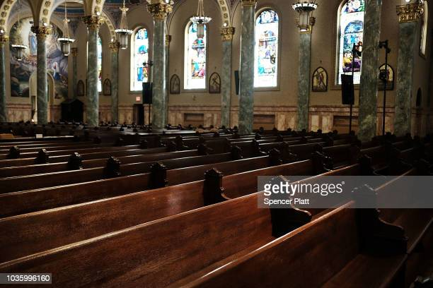 Empty pews stand in a Catholic church in Brooklyn on September 19 2018 in New York City In a further blow to the Catholic Church in America four men...