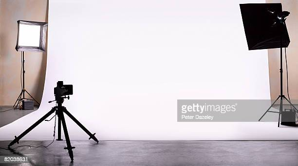 empty photography studio ready for shoot. - photography themes stock pictures, royalty-free photos & images