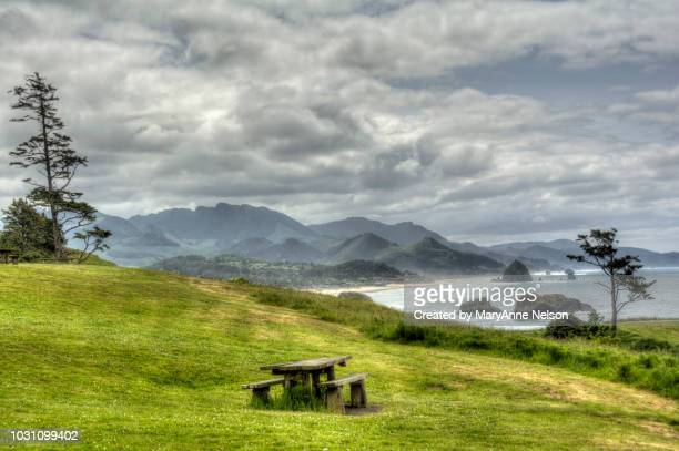 empty picnic table at ecola state park - oregon coast stock pictures, royalty-free photos & images