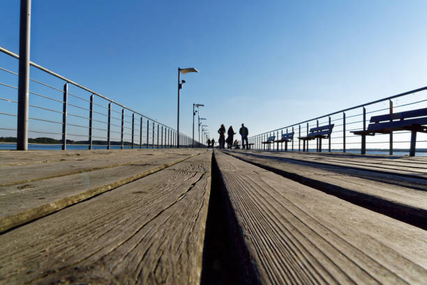 Empty Pier under a Blue Sky