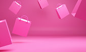 Empty pink shopping bag in the studio lighting, Design concept for valentines day.