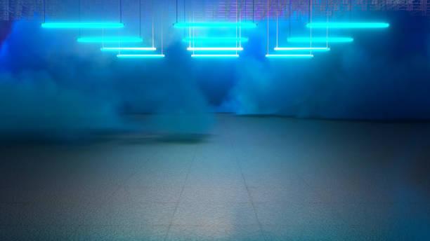 Empty Pit Garage With Blue Smoke