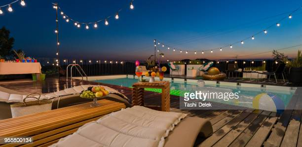 empty place ready for pool party - pool party stock pictures, royalty-free photos & images