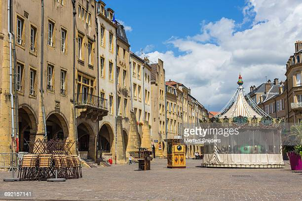 empty place saint-louis with carousel - moselle france stock pictures, royalty-free photos & images