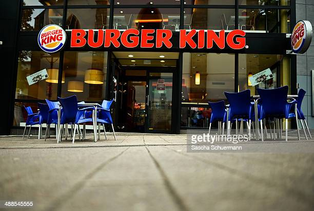 Empty plastic chairs stand at a union rally outside a Burger King outlet on May 7 2014 in Essen Germany The rally comes in the wake of an undercover...