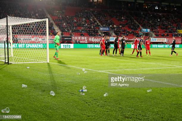 Empty plastic cups during the Dutch Eredivisie match between FC Twente and AZ at De Grolsch Veste on September 23, 2021 in Enschede, Netherlands