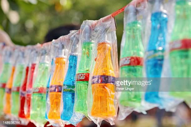 Empty plastic water drinking bottles for sale at Songkran Festival.