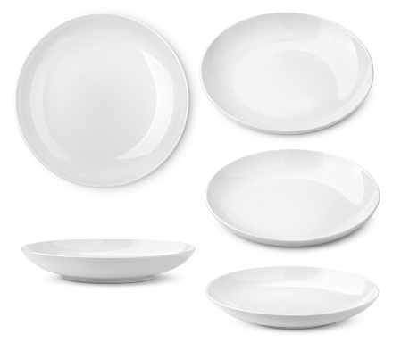 Empty plate, isolated on white background, clipping path, full depth of field 1136679068